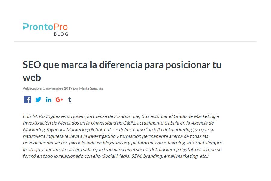 Entrevista en el blog de ProntoPro